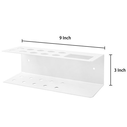 10-Slot Wall-Mounted Metal Dry Erase Marker and Eraser Holder Rack, White by MyGift (Image #5)
