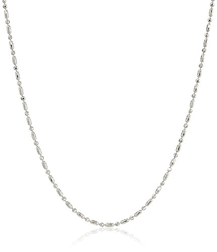 Italian Sterling Silver Rhodium Plated Diamond Cut Oval and Round Beads Mezzaluna Chain Necklace, (Rhodium Plated Sterling Silver Chain)