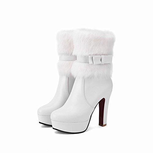 Latasa Mujeres Cold-weather Platform Tacones Altos Botines De Vestir Cortos Blanco