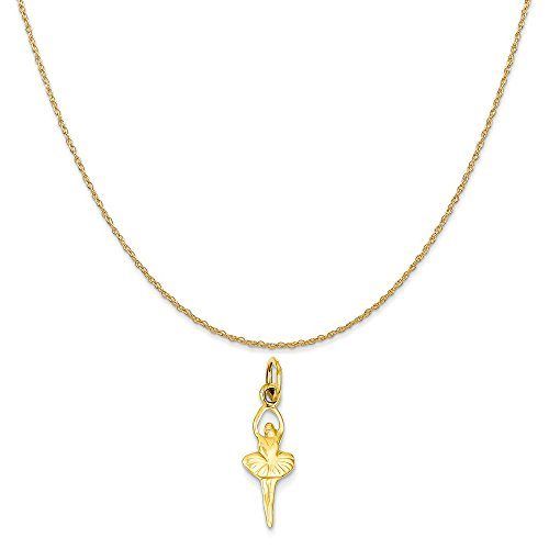 Ballerina Gold Charm Yellow 14k - Mireval 14k Yellow Gold Polished Ballerina Charm on a 14K Yellow Gold Rope Chain Necklace, 16