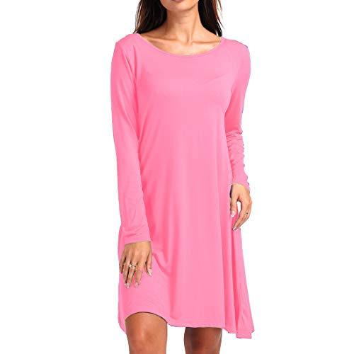 5e36a814ca4 ShiZiBan Plus Size Women s Casual Swing Loose Fit Comfy Flattering Tunic  Tops.Flare Long Sleeve