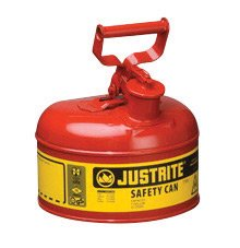 Justrite 7110100 Type 1 Safety Can with Stainless Steel Flame Arrestor for Use with Flammable Liquids 1 g/4 L, 1 Gallon Red