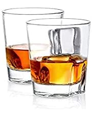 Cooko Vasos de Whisky,Cócteles de Moda Tradicional,Cristalería de Vino Cristal Premium sin Plomo,2 Paquetes de 250 ML