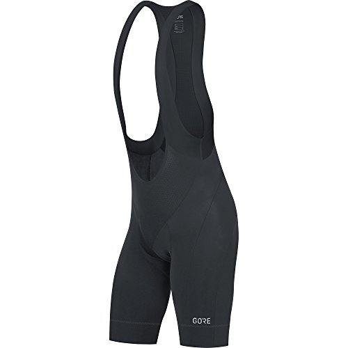 GORE Wear Men's Breathable Road Bike Bib Shorts, With Seat Insert, GORE Wear C5 Bib Shorts +, Size: M, Color: Black, 100192