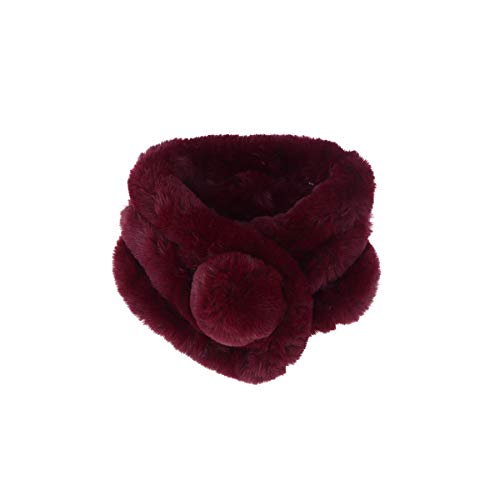 Warm Keeping Winter Fashion Faux Rabbit Fur Ring Scarf Plush Cute Scarf for Women Girls (Claret)