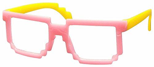 [FancyG® Retro Classic 8-Bit Pixel Geek Gamer Pixelated Glass Frame for Kids NO LENS - Pink Yellow] (Funny Weird Halloween Costumes)