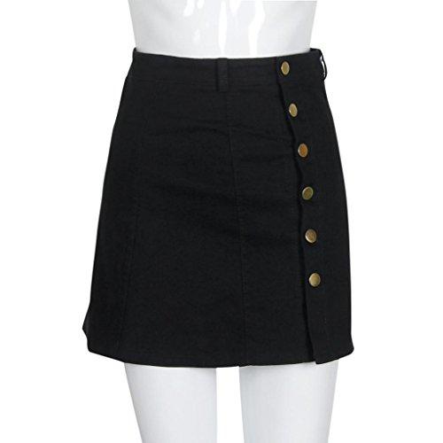 Jupe, Kingwo Denim Mode Taille Jupe coren Style Jupe en jean Noir