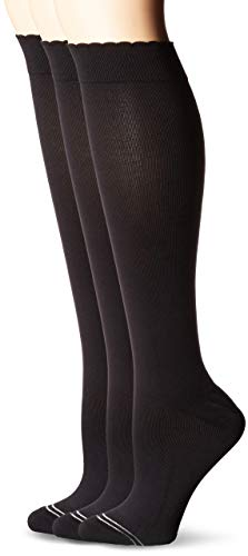 - HUE Women's Graduated Compression Knee Socks 3 Pair Pack, black, One Size