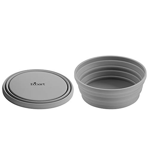 - Ecoart Silicone Collapsible Expandable Bowl Foldable Portable for Camping Hiking Picnic Travel (Gray(SL))