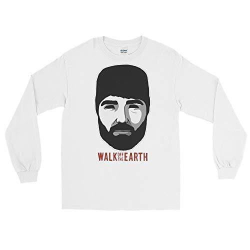 Walk Off The Earth Hipster Beard Guy Long Sleeve T-Shirt White (Beard Man T Shirt Walk Off The Earth)