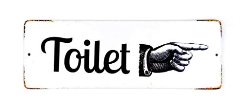 (Vintage Inspired Toilet Sign Metal Enamel Distressed White Wall Mounted Sign with Pointing Finger Restroom)