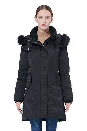Orolay Women's Down Jacket with Removable Hood Winter Down Coat (M, Black) ()
