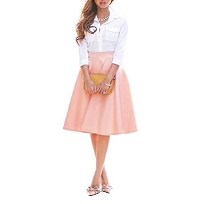 Misscat Women Vintage Stretch Waisted Flared Plain Knee-high Pleated Long Skirt