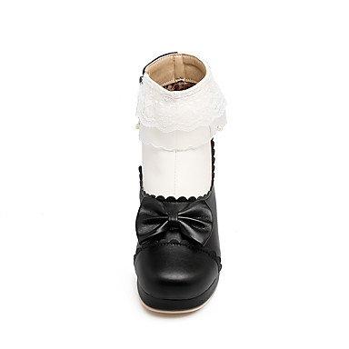 Heart&M Damen Schuhe Kunstleder Herbst Winter Stiefeletten Modische Stiefel Stiefel Blockabsatz Runde Zehe Booties Stiefeletten Schleife Spitze black