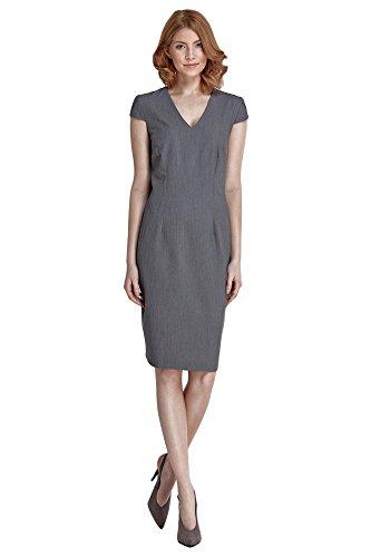 Etuikleid Ausschnitt Kleid kurzen Ärmeln Abendkleid und Damen V Nife Grau mit Aqtfw
