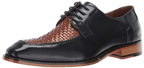 Embossed Leather Blazer - STACY ADAMS Men's Winthrop Moc-Toe Lace-Up Dress Oxford, Navy Multi, 10 M US