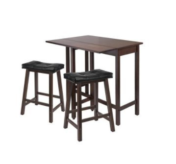 Price comparison product image SKB Family 3-Pc Lynnwood Drop Leaf Kitchen Table with 2 Cushion Saddle Seat Stools saving versatile Antique