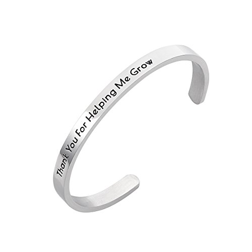 Stpower Teacher Appreciation Gift Thank You for Helping Me Grow Stainless Steel Cuff Bangle -