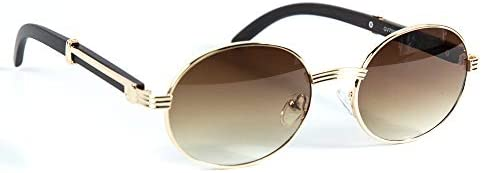 Mens Frameless Hip Hop Vintage Round Cut Brown Tint 90/'s Gold Frame Sunglasses