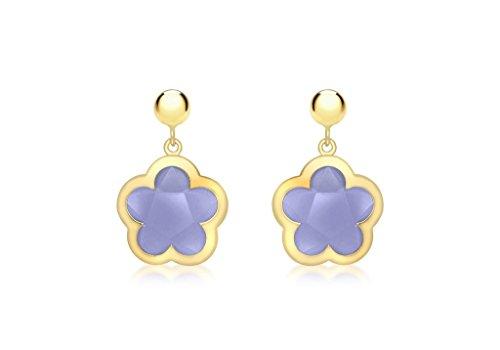 Jewellery World Bague en or jaune 9carats-Boucles d'Oreilles Pendantes Femme-Boule Fleur et Pierre Bleu