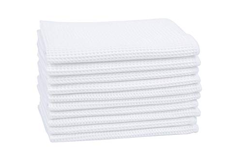 Deep Waffle Weave Dish Cloths White Kitchen Dish Rags Washing Dishes Microfiber Lint Free Cleaning Cloth 12InchX12Inch 6 Pack (White, 10 Pack)