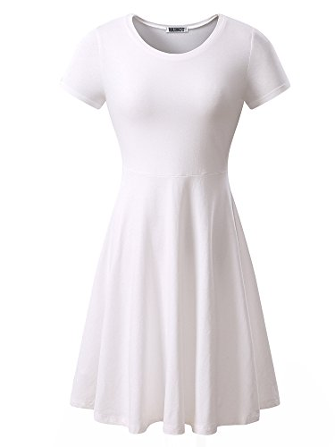 HUHOT Women Short Sleeve Round Neck Summer Casual Flared Midi Dress Small White
