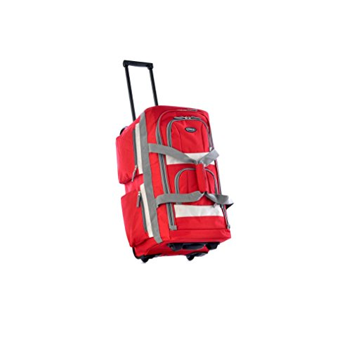 Upright Roller Luggage (Stylish Sport Rolling Duffel Bag, Carry On Roller Luggage, Upright Red Duffle)