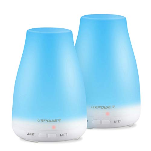 (URPOWER Essential Oil Diffuser, 2 Pack Aromatherapy Diffuser for Essential Oils Portable Cool Mist Humidifier with Adjustable Mist Mode 7 Colors LED Lights and Waterless Auto Shut-Off for Home Office)