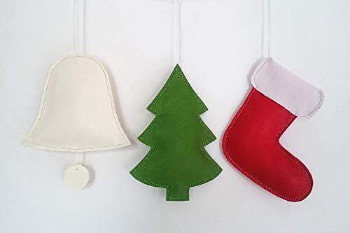 「Thing.Is」PU Leather Christmas Ornaments, Christmas Tree Decoration, Christmas Stocking, Christmas Tree, Christmas Bell, Home Decor, Set of 3 items