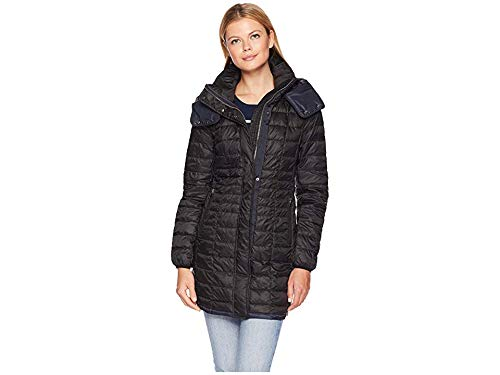 (Marc New York by Andrew Marc Women's Marble Packable Puffer with Detachable Hood Black X-Small)