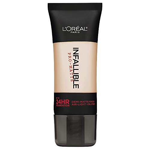 L'Oréal Paris Infallible Pro-Matte Liquid Longwear Foundation Makeup, 101 Classic Ivory, 1 fl. oz. (Best Full Coverage Non Comedogenic Foundation)