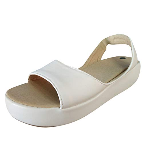 Womens Retro Roman Flats Soft Sandals Summer Outdoor Casual Fish Mouth Ankle Strap Cool Feel Comfort Beach Sandals (White, US:7.5)