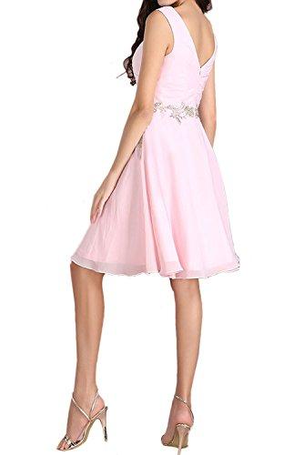 Kleid Falte kurz Aermellos Perlen Kleid V Ivydressing zaertlich Partykleid Damen Ausschnitt Chiffon Weiß Heimkehr Strass Applikation Brautfern wCqxp7v