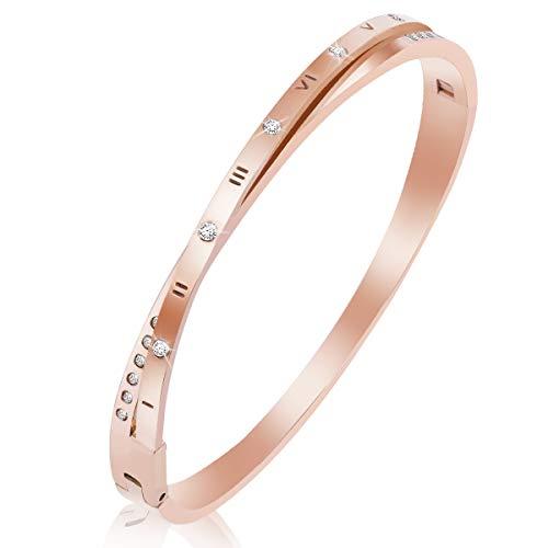 (Women Cuff Bracelet Bangle Titanium Steel Fashion Classic Roman Numerals Lovely Brilliance Bracelets with Swarovski Crystal- Gifts for Women,Girls (Rose Gold -Diamond))