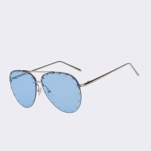 reborde de El de W UV400 de sin de gafas de para del sol la calidad mujer Vintage mar marrón de Mujer Oculos marca blue TIANLIANG04 gafas superior sea w Silver gafas moda cristalino Diseñador sol oro de fvdcUqvI