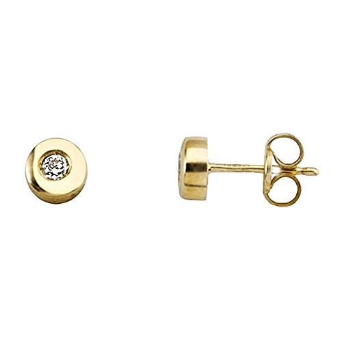 Boucled'oreille or 18k brillant diamant 0.1ct [AA6342]