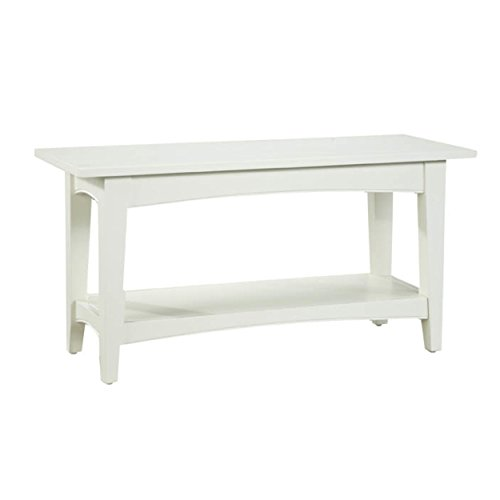 Shaker Cottage Bench with Open Shelf, Ivory (Bench Wooden White)