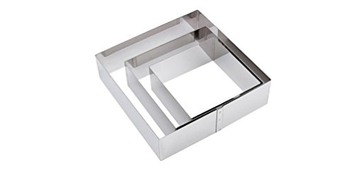 AUCH Deluxe Stainless Steel Square Mousses Rings Cutter Cake moulds, Set of 3