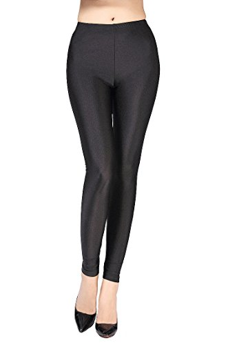 Polyester Dance (Swtddy Women's Fashion Shiny Nylon Stretchy Skinny Dance Leggings Pants (L, Black))