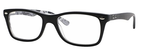 Ray-Ban Women's Rx5228 Square Eyeglasses,Top Black & Texture White,53 mm (Top Black & Texture White, - Black Bans And White Ray