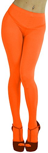 (ToBeInStyle Women's Opaque Full Footed Panty Hose Leggings Tights Hosiery - Neon Orange - One Size: Regular)