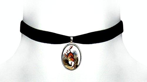 Victorian Vault Alice in Wonderland Black Velvet Choker Steampunk Gothic Pendant Necklace (White -