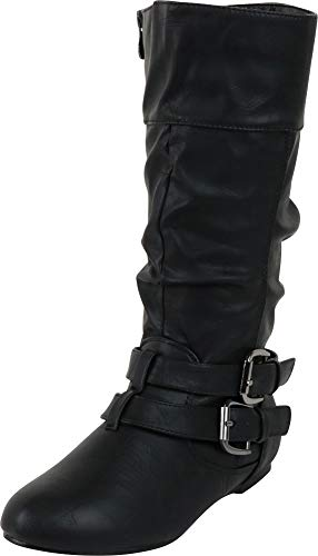 Cambridge Select Women's Wraparound Strappy Buckle Slouch Flat Mid-Calf Boot,6.5 M US,Black Pu (Buckle Around Wrap)