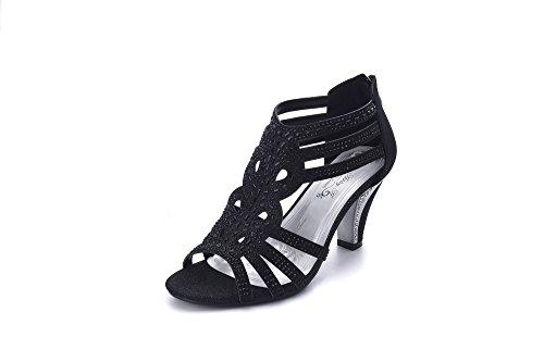 Ashley A Women's Lexie Crystal Dress Heels Low Heels Wedding Shoes KINI25 BLACK11 (Dress Ashley In Black)