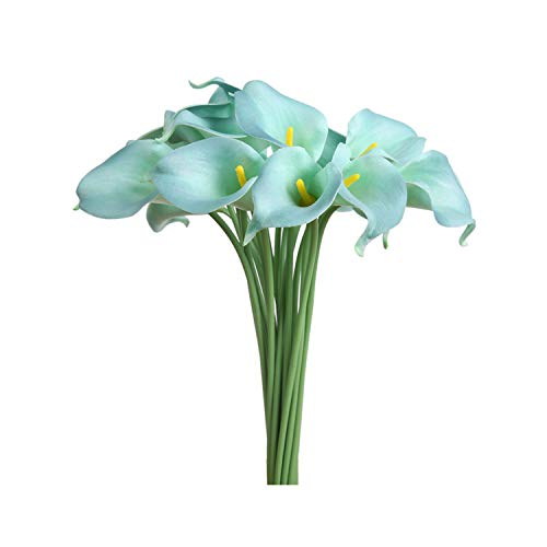 Luyue 15Pcs/Lot Artificial Flowers Calla Lily PVC Real Touch Bride Bouquet Flower Home Wedding Decor Flowers & Wreaths Mix Color,Tiffany - Tiffany Water Lily Hanging