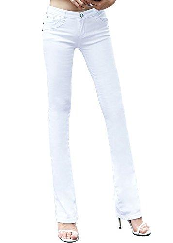 Smibra Womens Solid Slimming Pants Elegant Mid Waist Straight Leg Denim Jeans