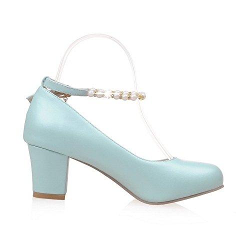 BalaMasa Ladies Buckle Beaded Chunky Heels Urethane Pumps Shoes Lightblue LmNKO