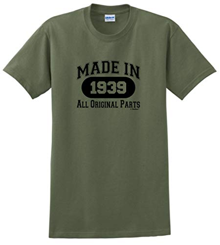 80th Birthday Gifts for Dad 80th Birthday Gift Made 1939 All Original Parts T-Shirt Large Military Green