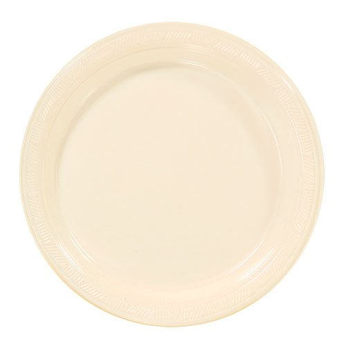 Hanna K. Signature Collection 50 Count Plastic Plate, 9-Inch, Ivory