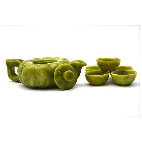 Wonderful Natural Jade green Jade Teapot, Teacup and Wine Pot Set